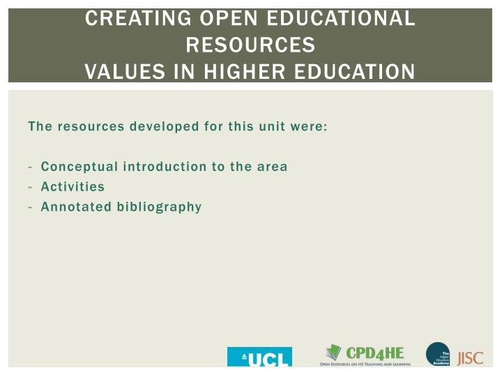 Creating open educational resources values in higher education1