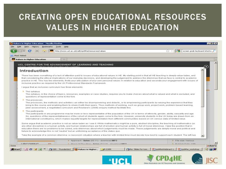 Creating open educational resources values in higher education2