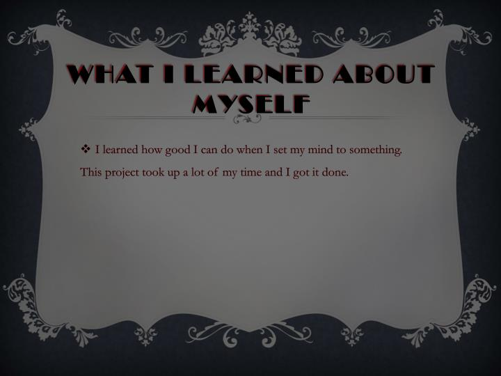 What I learned about myself