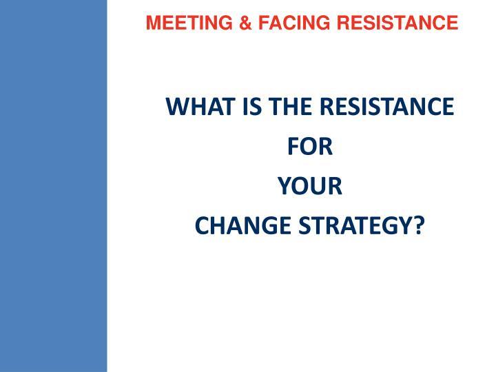 MEETING & FACING RESISTANCE
