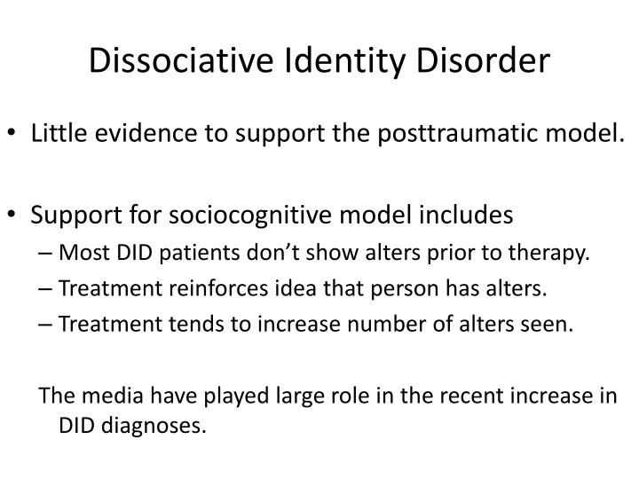 nursing care for dissociative indentity disorder Dissociative identity disorder what is dissociative identity disorder formerly known as multiple personality disorder, did is a dissociative mental disorder, characterized by the presence of two or more distinct identities or personality states within the same individual each with its own relatively enduring pattern of perceiving, relating.