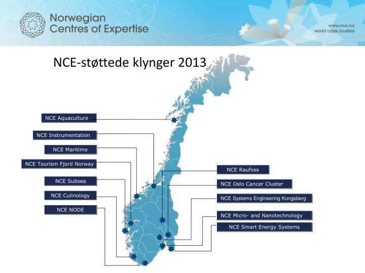 NCE-støttede klynger 2013
