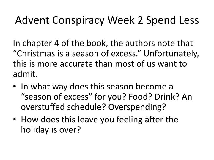 Advent Conspiracy Week 2 Spend Less