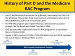 history of part d and the medicare rac program