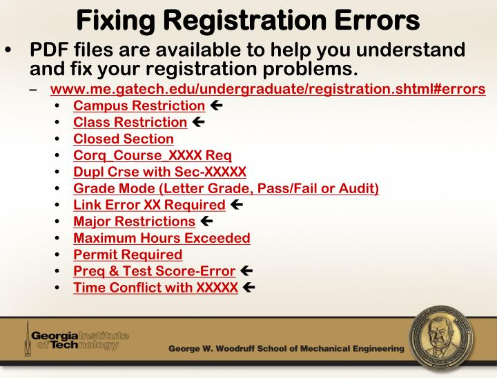 PDF files are available to help you understand and fix your registration problems.