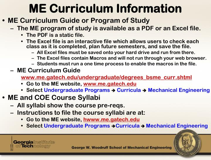 ME Curriculum Guide or Program of Study