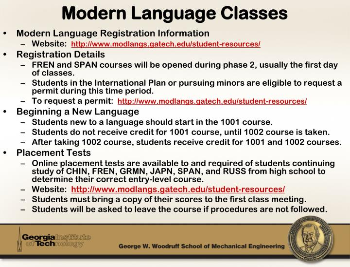 Modern Language Registration Information