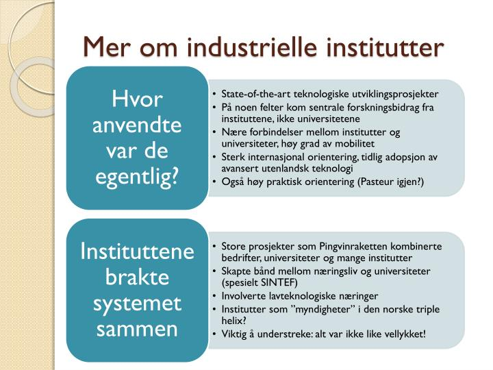 Mer om industrielle institutter