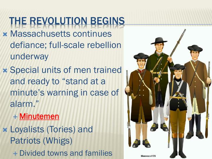 Massachusetts continues defiance; full-scale rebellion underway