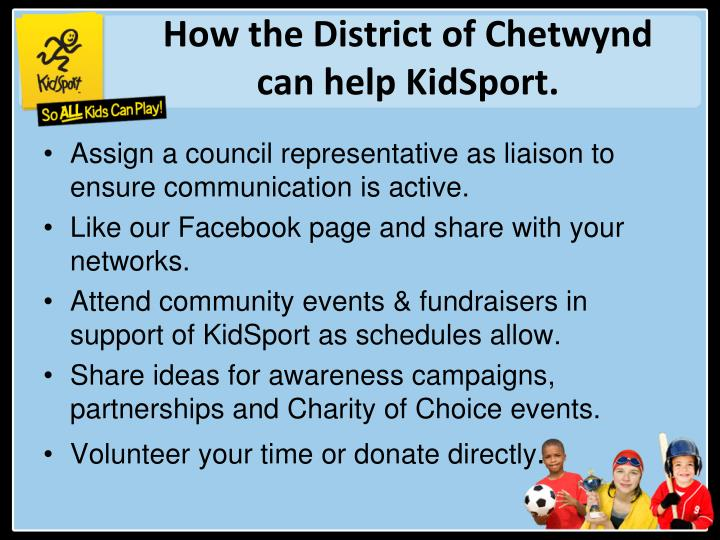 How the District of Chetwynd can help KidSport.