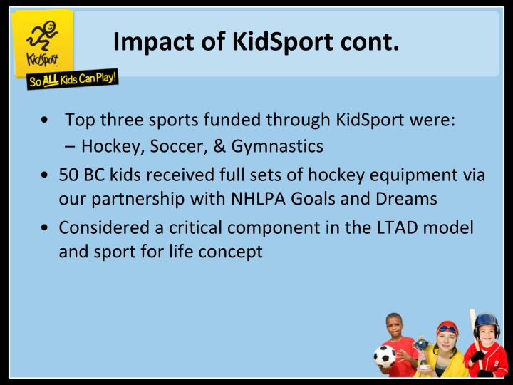 Impact of KidSport cont.