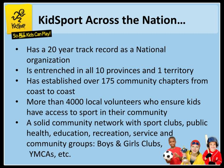 KidSport Across the Nation…