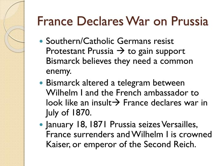 France Declares War on Prussia