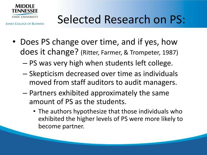 Selected Research on PS: