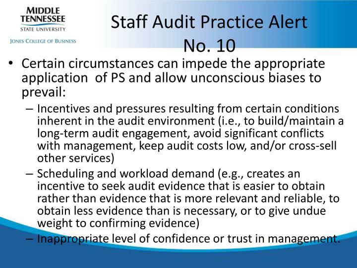 Staff Audit Practice Alert