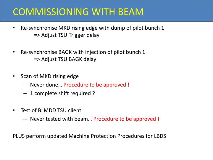 COMMISSIONING WITH BEAM