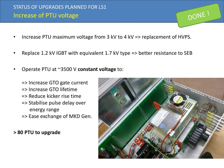 STATUS OF UPGRADES PLANNED FOR LS1