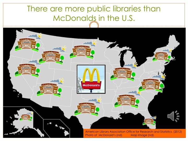 There are more public libraries than McDonalds in the U.S.