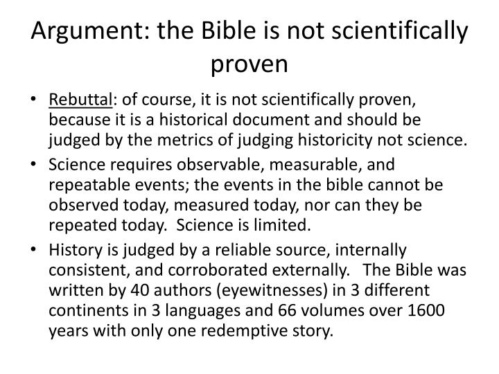 Argument: the Bible is not scientifically proven