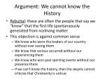 argument we cannot know the history