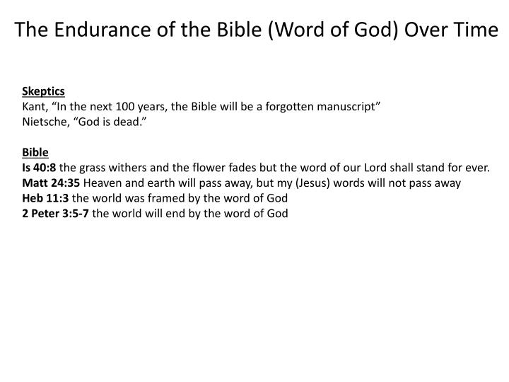 The Endurance of the Bible (Word of God) Over Time