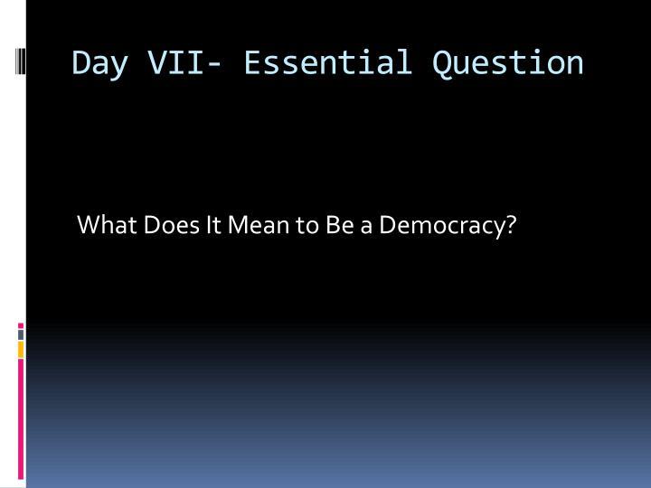 Day VII-