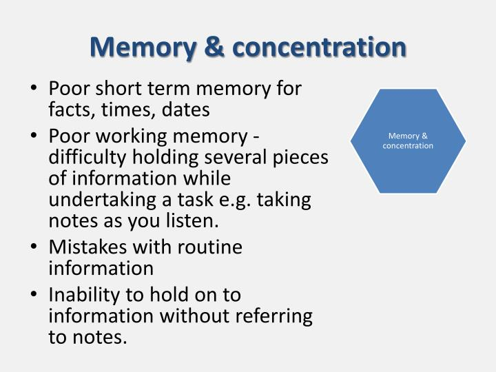 Memory & concentration
