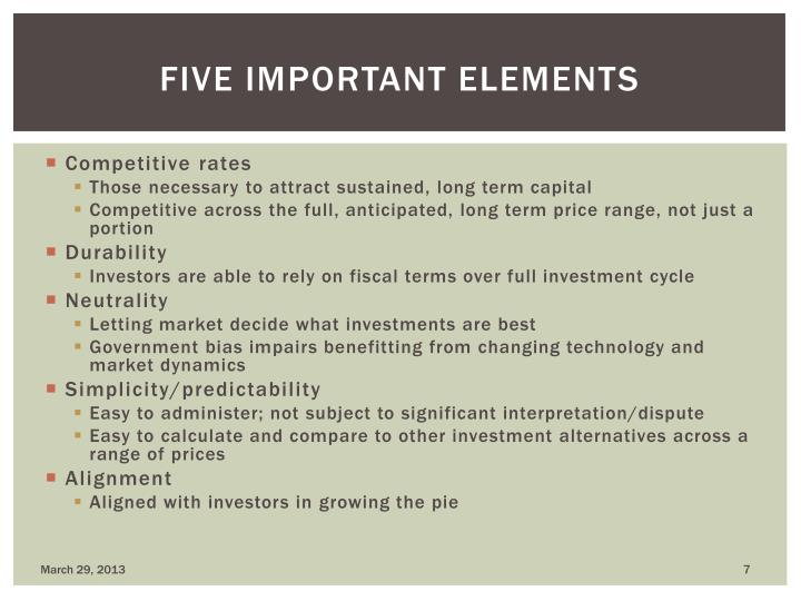 Five important elements