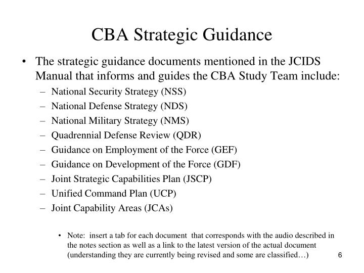 CBA Strategic Guidance