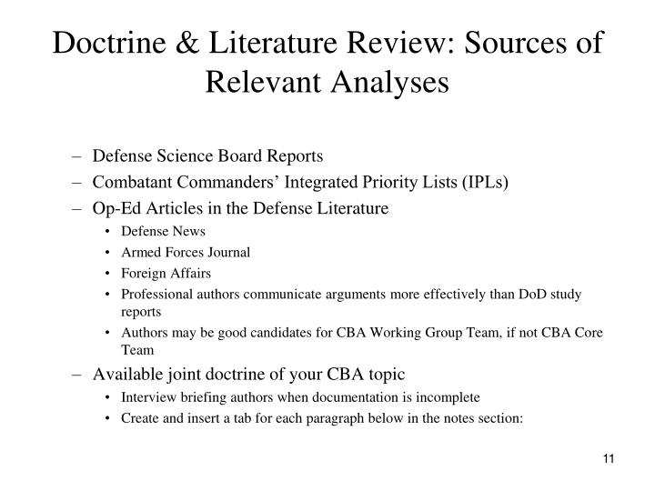 Doctrine & Literature Review: Sources of Relevant Analyses