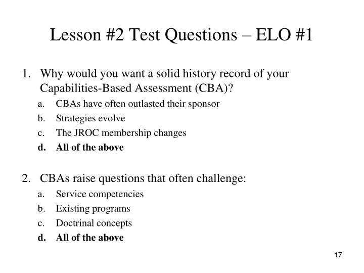 Lesson #2 Test Questions – ELO #1