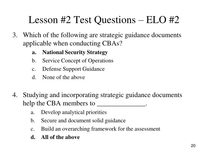Lesson #2 Test Questions – ELO #2