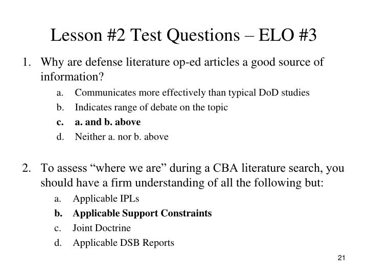 Lesson #2 Test Questions – ELO #3