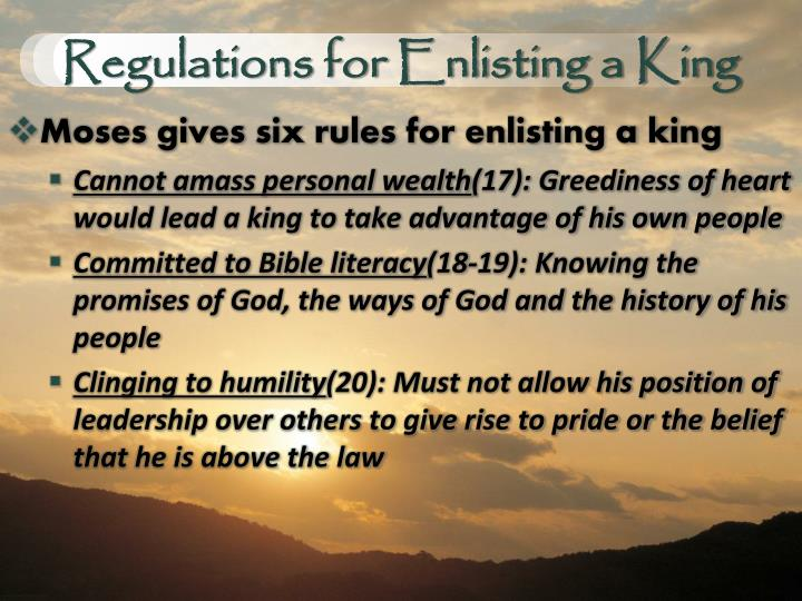 Regulations for Enlisting a King