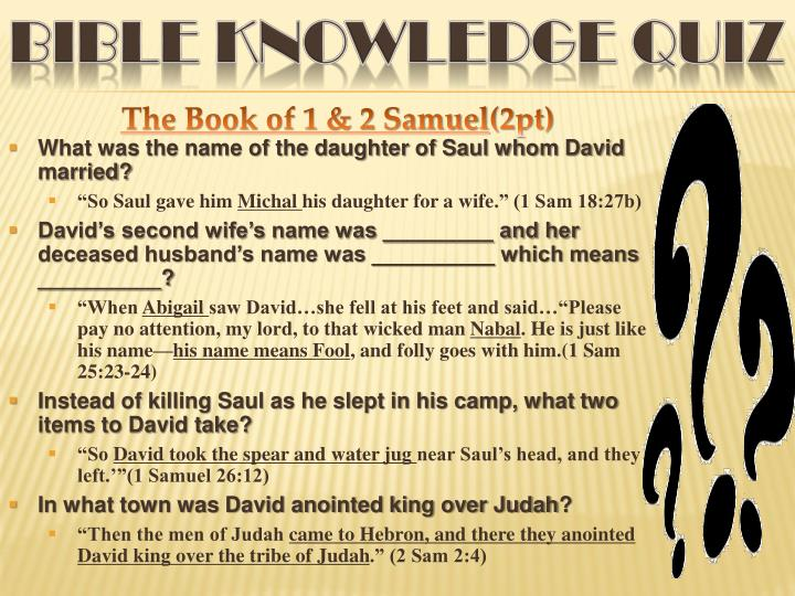 Bible KNOWLEDGE QUIZ
