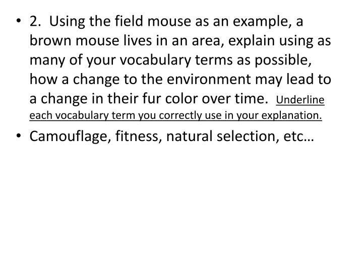 2.  Using the field mouse as an example, a brown mouse lives in an area, explain using as many of your vocabulary terms as possible, how a change to the environment may lead to a change in their fur color over time.