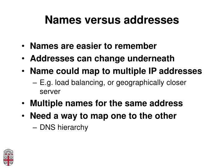 Names versus addresses