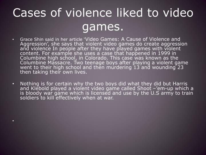 Cases of violence liked to video games.