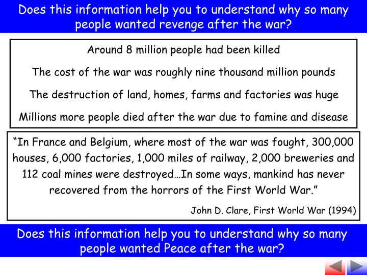 Does this information help you to understand why so many people wanted revenge after the war?