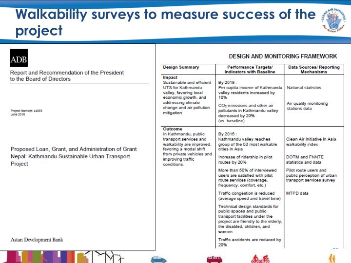 Walkability surveys to measure success of the project