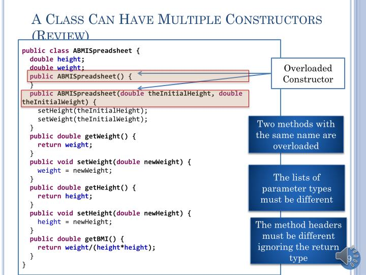 A Class Can Have Multiple Constructors (Review)