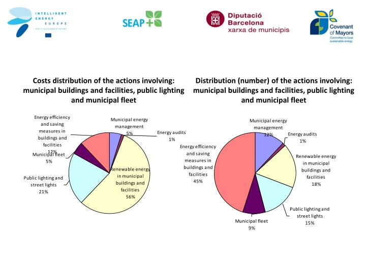 Costs distribution of the actions involving: municipal buildings and facilities, public lighting and municipal fleet