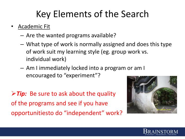 Key Elements of the Search