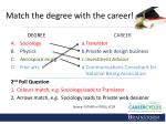 match the degree with the career