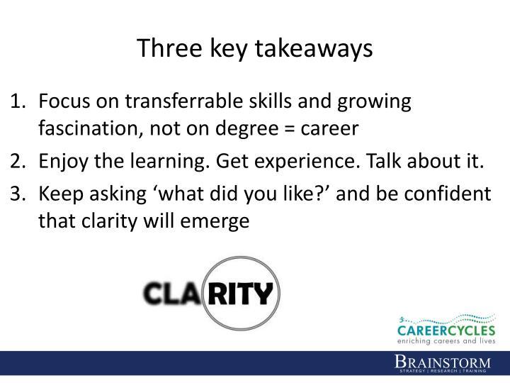Three key takeaways