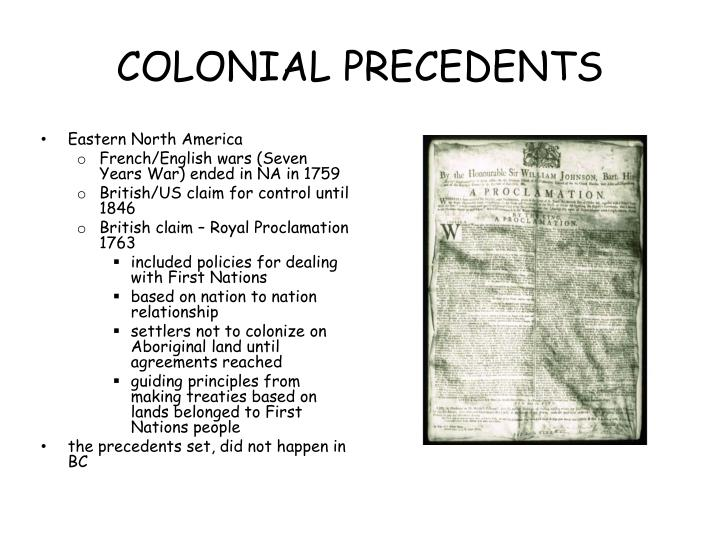 COLONIAL PRECEDENTS