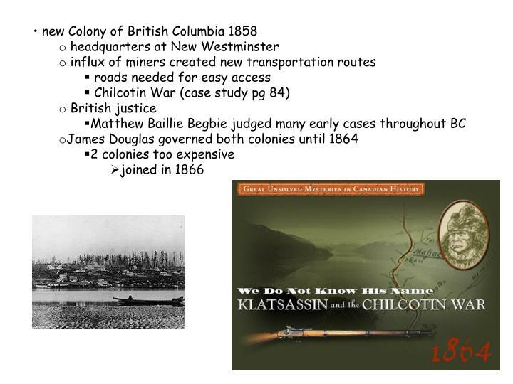 new Colony of British Columbia 1858