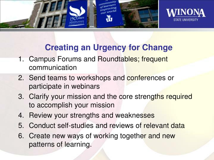 Creating an Urgency for Change