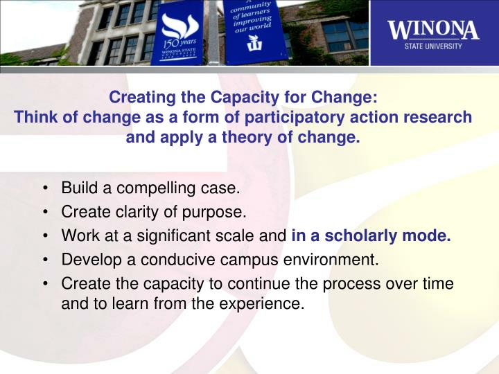 Creating the Capacity for Change: