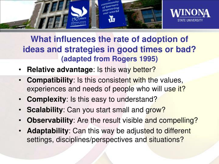 What influences the rate of adoption of ideas and strategies in good times or bad?